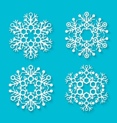flat white snowflakes set vector image vector image