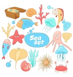 Funny cartoon sea creatures set vector image