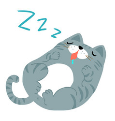 Happy fat gray cat sleeping vector