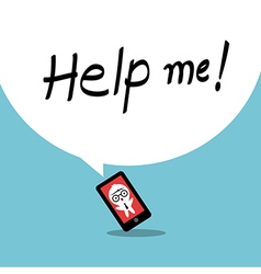 Help me smartphone addiction concept cartoon vector
