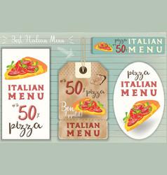 italian pizza stickers set vector image vector image