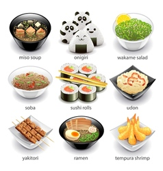 Japan food icons set vector