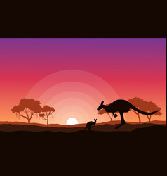Kangaroo silhouette landscape background vector