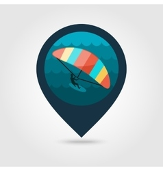 Kite boarding kite surfing pin map icon vacation vector