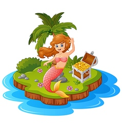 mermaid in treasure island vector image vector image
