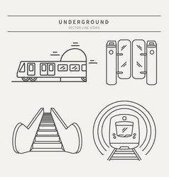 Metro linear icons vector
