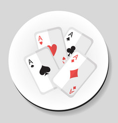 Playing cards 4 aces sticker icon flat style vector