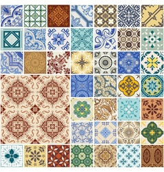 Seamless Patterns Set - Spain and Moroccan Tiles vector image vector image