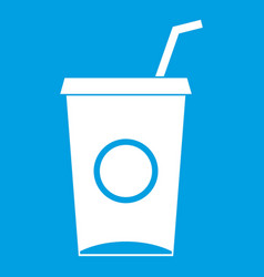 Soft drink in paper cup icon white vector