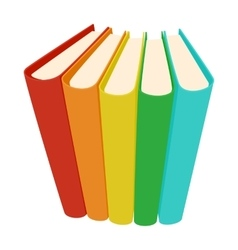 Stack of three colored books icon cartoon style vector image