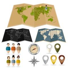 Three maps vector image