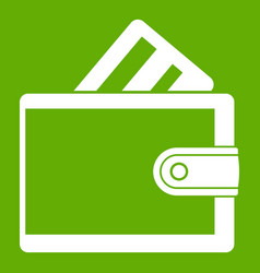 Wallet with credit card icon green vector