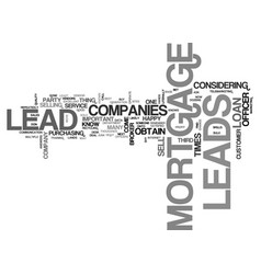 where mortgage leads come from text word cloud vector image