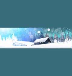 winter landscape with house in snowy forest vector image