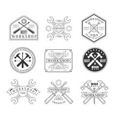 Wood workshop black and white emblems vector
