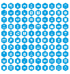 100 box icons set blue vector