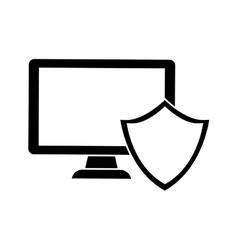 Computer shield server banner icon vector