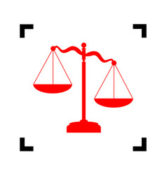 Scales of justice sign  red icon inside vector