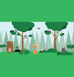 baby forest card design with friendly animals vector image