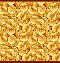 Placer of glossy old gold coins seamless pattern vector