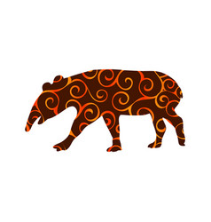 Tapir mammal color silhouette animal vector