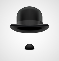 Gentleman with small moustaches and bowler hat vector