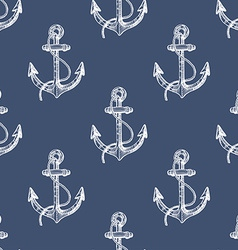 Seamless pattern with hand drawn anchors vector