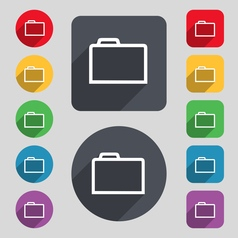 Folder icon sign a set of 12 colored buttons and a vector