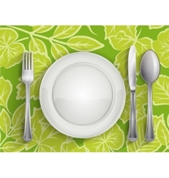 Plate spoon knife and fork vector