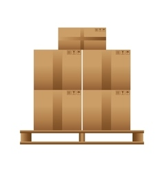 Wooden pallet with cardboard boxes vector