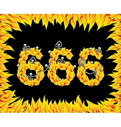666 number of devil fire numeric skeletons in vector