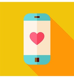 Flat Design Smartphone with Love Heart Sign Icon vector image