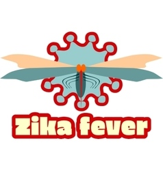 Abstract virus mosquito image and zika fever text vector