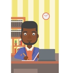 Man using laptop for education vector