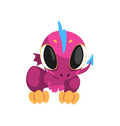 Adorable violet dragon with big eyes little wings vector