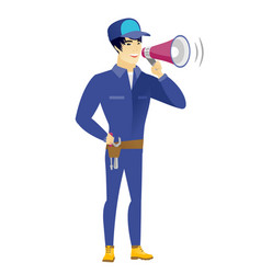asian mechanic talking into loudspeaker vector image