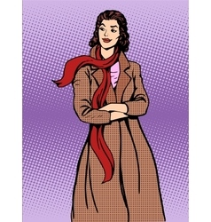 Beautiful woman coats winter autumn vector