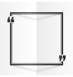 Black square quote frame at white folded paper vector image vector image