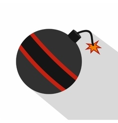 Bomb ready to explode icon flat style vector