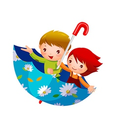 Boy and girl in umbrella vector
