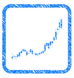 Candlestick chart growth acceleration framed stamp vector