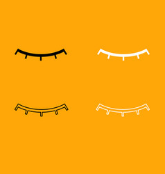 closed eye black and white set icon vector image vector image