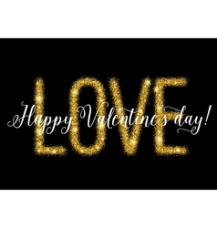 Gold glittering lettering Valentines day card vector image vector image