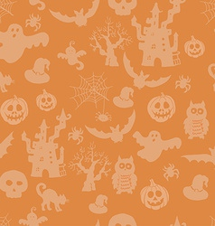 Halloween seamless pattern on an orange background vector image