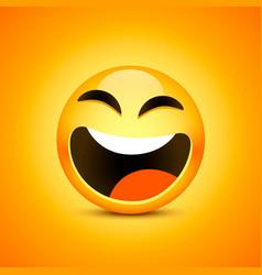 happy emoji face object on orange vector image vector image