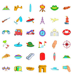 Laggage icons set cartoon style vector