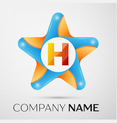 Letter h logo symbol in the colorful star on grey vector