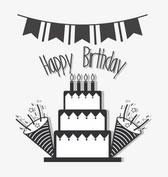 Line cake with hat birthday celebration vector