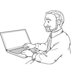 Man using laptop vector