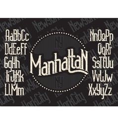 Manhattan font set vector